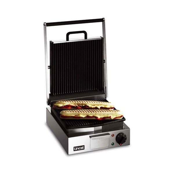 Lincat Lynx 400 Single Enamelled Cast Iron Contact Grill Ribbed Base & Ribbed Top - LPG - 310mm