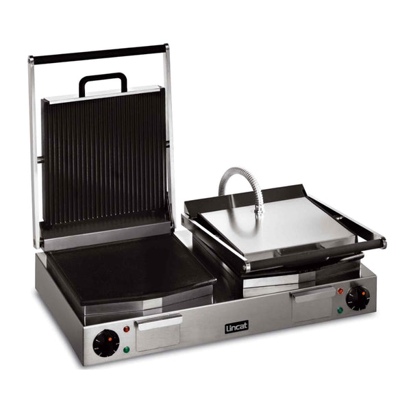 Lincat Lynx 400 Twin Enamelled Cast Iron Contact Grill Flat Base & Ribbed Top - LRG2 - 623mm