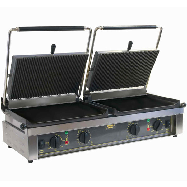 Roller Grill Twin Cast Iron Contact Grill Flat Base & Ribbed Top - Panini DL - 835mm