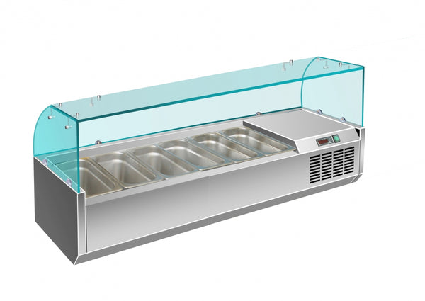 Prodis EC-T15G, 1500mm 6 x 1/3GN Topping Unit With Curved Glass Top