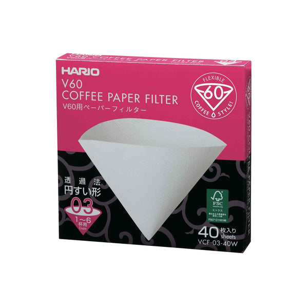 Hario V60 Paper Filter 03 Dripper Bleached Sheets - Box of 40
