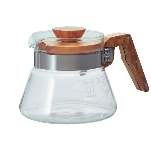 Hario V60 01 Olive Wood Glass Server - 400ml