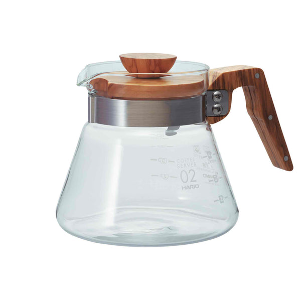 Hario V60 02 Olive Wood Glass Server - 600ml