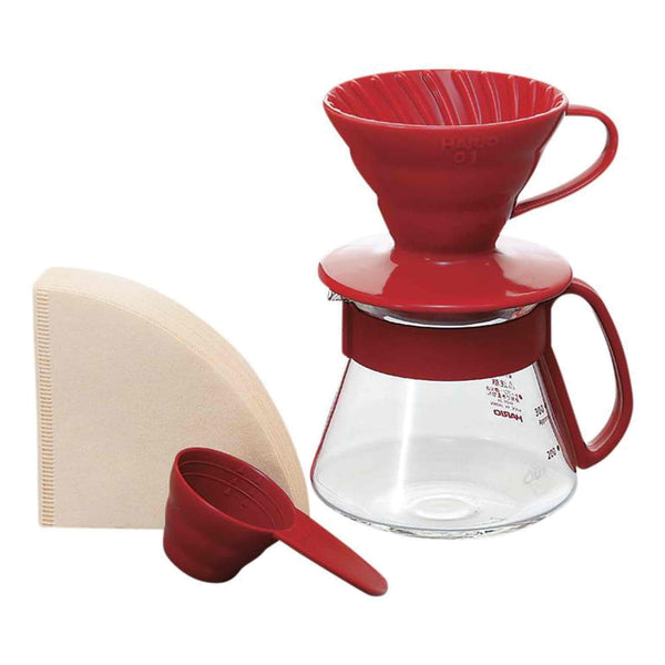 Hario V60 01 Red Ceramic Pour Over Gift Set - 2 Cup