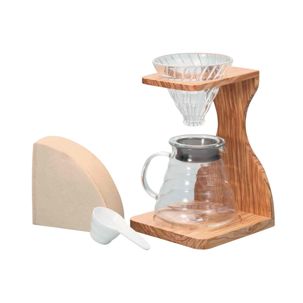 Hario V60 02 Olive Wood Pour Over Gift Set - 4 Cup