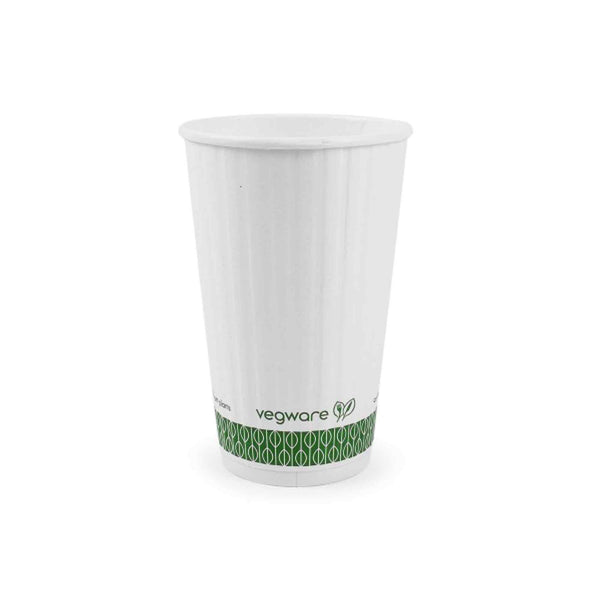 Vegware 16oz Eco Compostable Double Wall Embossed White Hot Cups - Case of 500