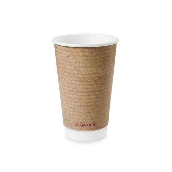 Vegware 16oz Eco Compostable Double Wall Kraft Hot Coffee Cups - Case of 400