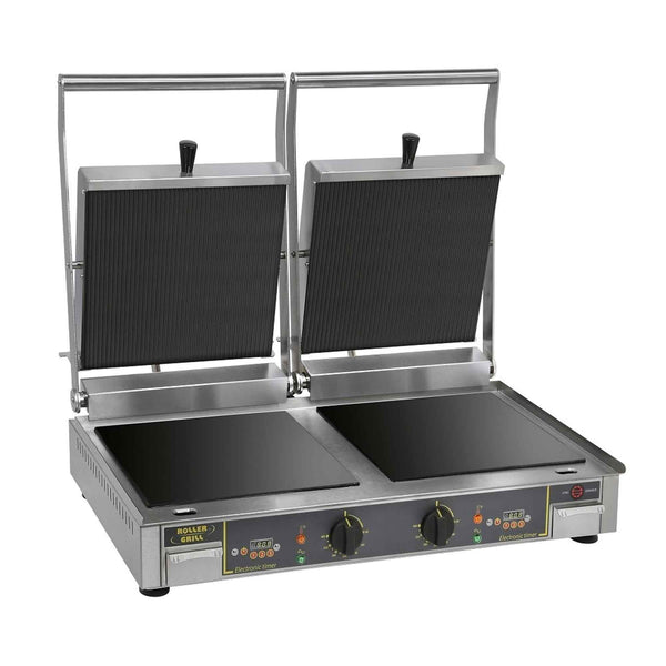 Roller Grill Double Vitro Ceramic Contact Grill Flat Base & Ribbed Top - Premium VC DL - 780mm