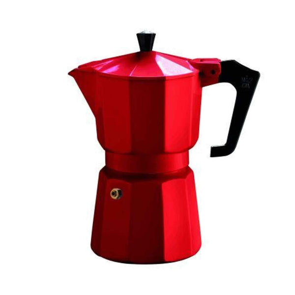 Pezzetti Italexpress Aluminium Stove Top Moka Pot - 6 Cup - Red Enamel