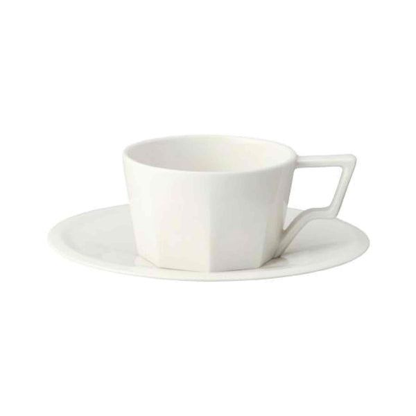 Kinto Oct Porcelain Cup and Saucer - White - 3oz