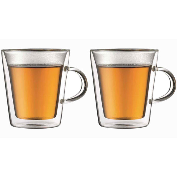 Bodum Canteen Glass Coffee Cup With Handle - 0.2l / 6oz - Pack of 2