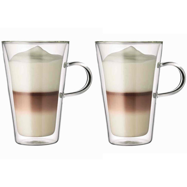Bodum Canteen Glass Coffee Cup With Handle - 0.4l / 13.5oz - Pack of 2