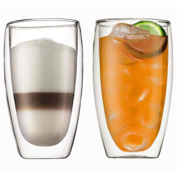 Bodum Pavina Glass Double Wall Coffee Cup - 0.45l / 15oz - Pack of 2