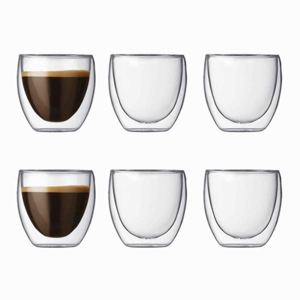 Bodum Pavina Glass Double Wall Coffee Cup - 0.08l / 2.5oz - Pack of 6