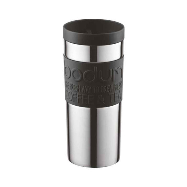 Bodum Travel Coffee Mug - Stainless Steel - 0.35l - 12oz - Push On Lid