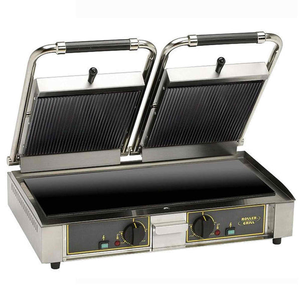 Roller Grill Twin Vitro Ceramic Contact Grill Flat Base & Rib Top - Majestic VC L - 620mm