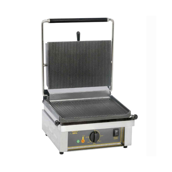 Roller Grill Single Cast Iron Contact Grill Ribbed Base & Ribbed Top - Panini R - 430mm