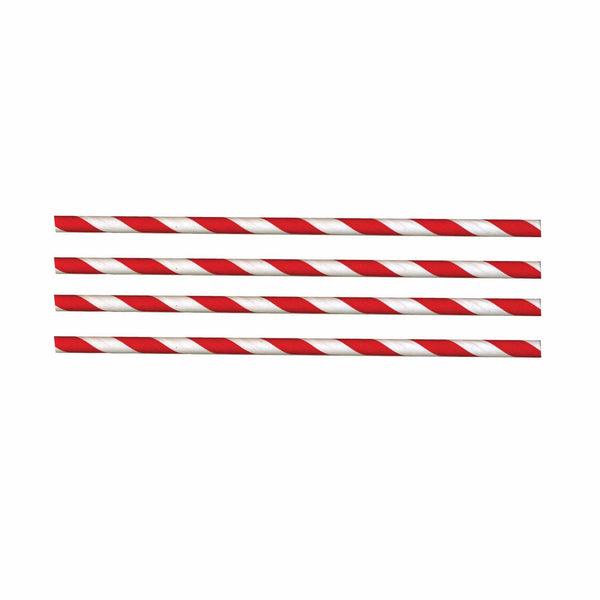 Sustainable Red & White Paper Straws 210mm x 6mm - Pack of 250