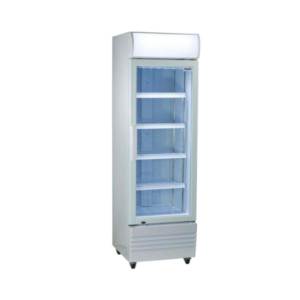 Prodis XD260C Compact Upright Display Fridge, 260 Litres, White