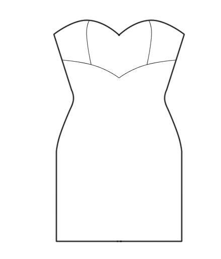 Pattern: Dress with Separately Cut Cups, Pattern, Corset Academy