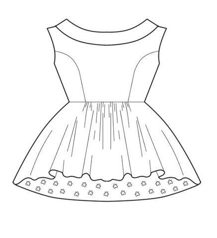 Pattern: Crew-Neck Wedding Dress with Full Skirt, Pattern, Corset Academy