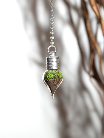 Terrarium Teardrop Necklace Silver