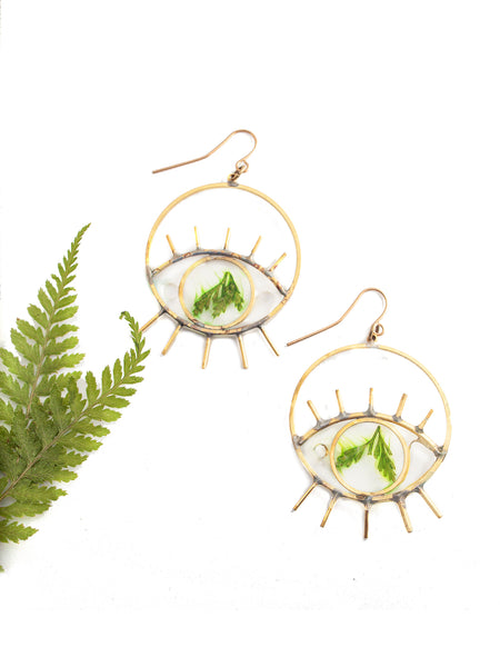 EcoResin: Brass Eye Earrings