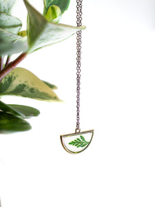 EcoResin: Brass Half Moon Necklace