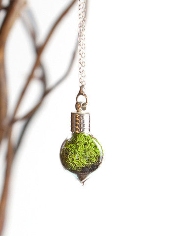 Terrarium Heart Necklace Silver
