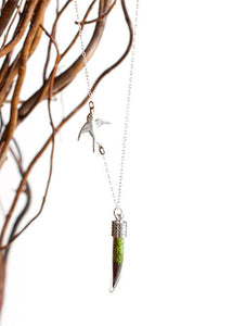 Tusk Terrarium Necklace with Sparrow
