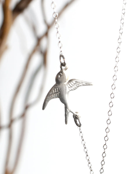Tusk Necklace with Sparrow