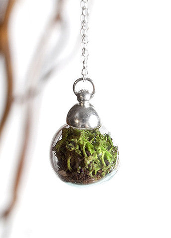 Large Globe Terrarium Necklace Silver