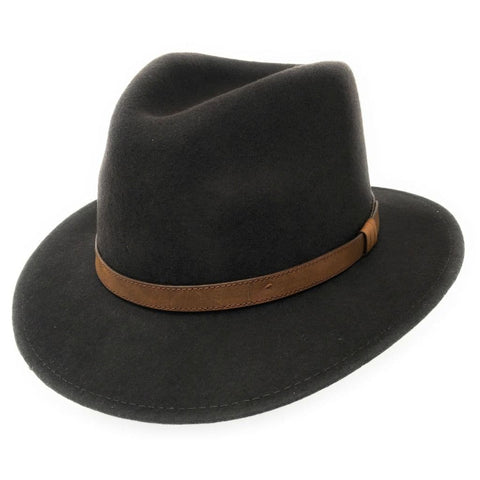 Crushable Wool Fedora Hat - Brown
