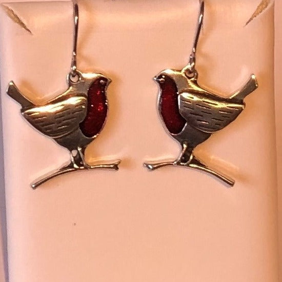 Pewter Robin Earrings