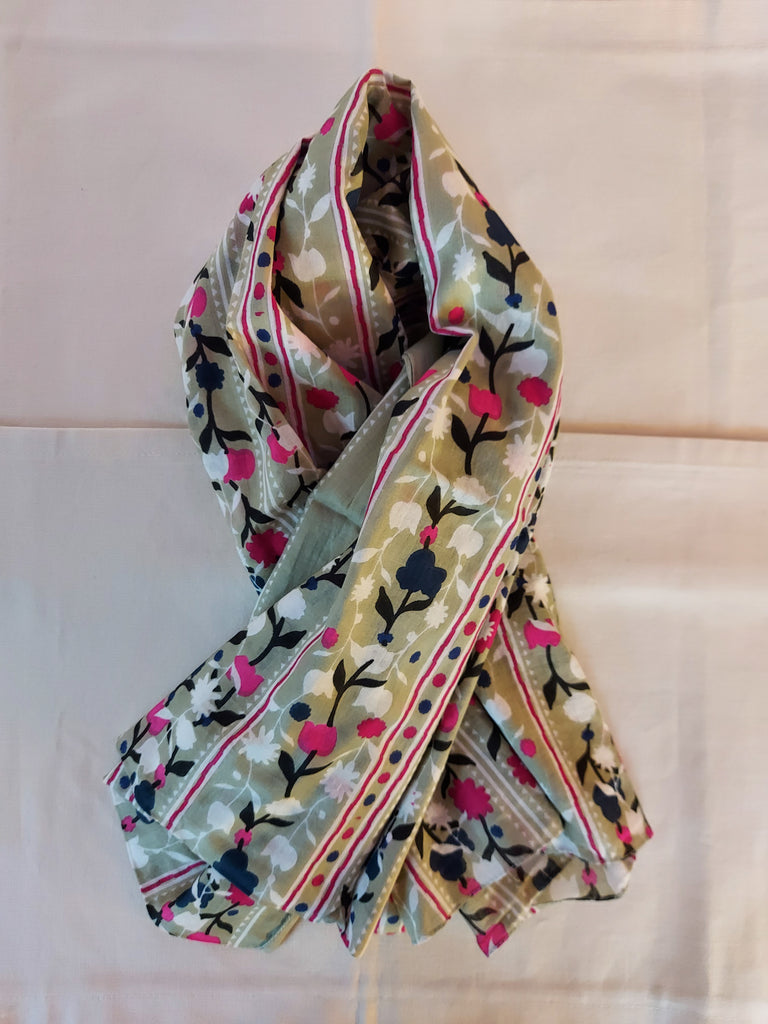 Sage Green Floral Organic Cotton Scarf