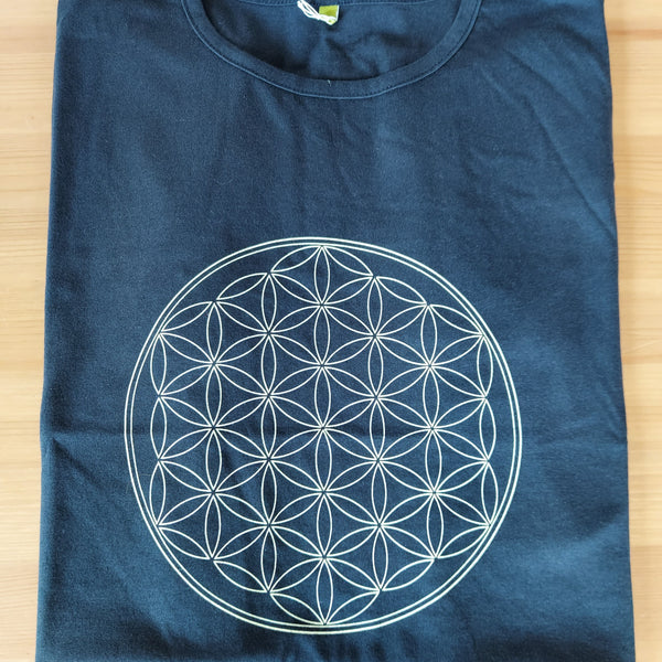Ladies Fit Flower of Life T-Shirt (Navy)