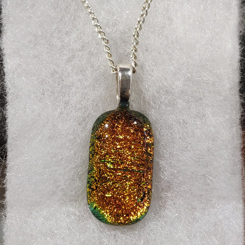 Fused Glass Necklace - Yellow Oval