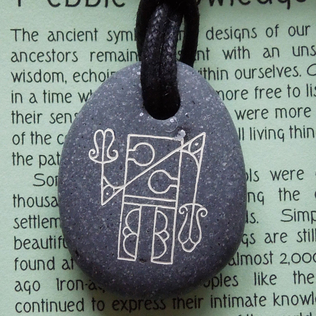 Pictish Pebble Pendant - Abstract Robot