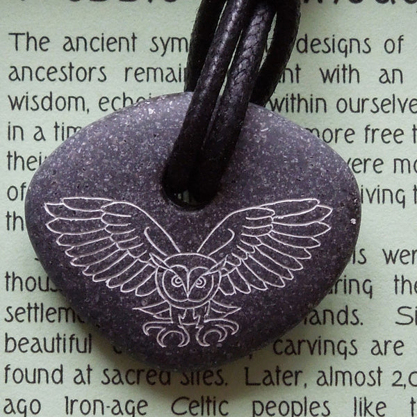 Pictish Pebble Pendant - Owl (Round Flying)