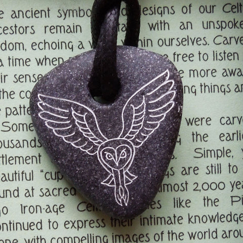 Pictish Pebble Pendant - Owl (Pointed Flying) (C20B)