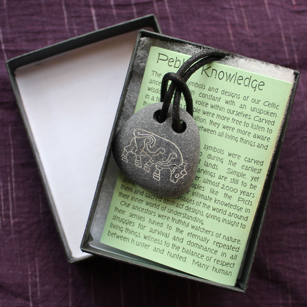 Pictish Pebble Pendant - Bull