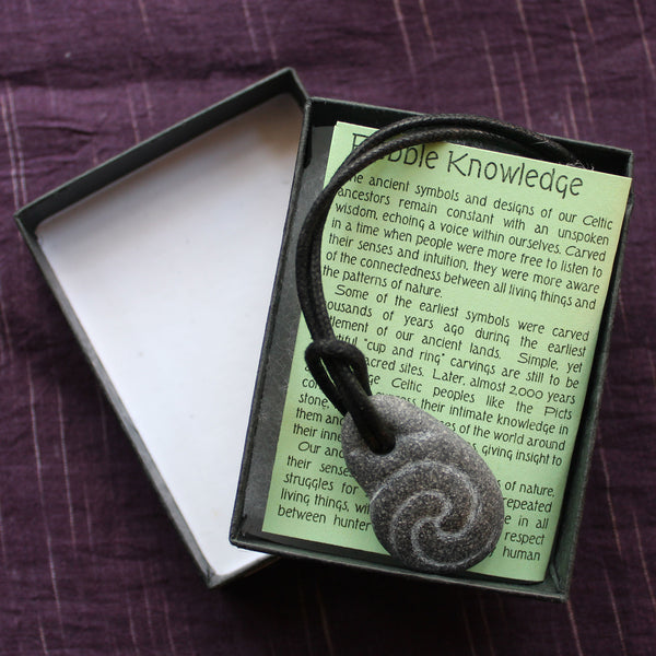 Pictish Pebble Pendant - Carved Spiral (B14)