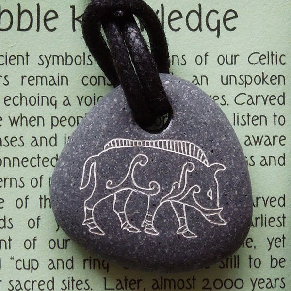 Pictish Pebble Pendant - Boar