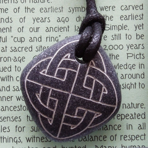 Pictish Pebble Pendant - Celtic Knotwork (B8)