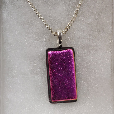 Fused Glass Necklace - Pink Rectangle
