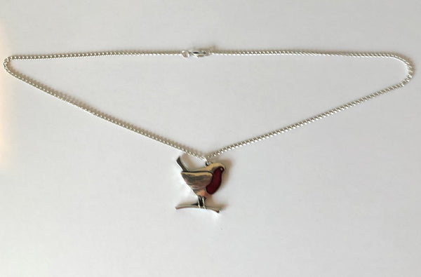 Pewter Robin Necklace