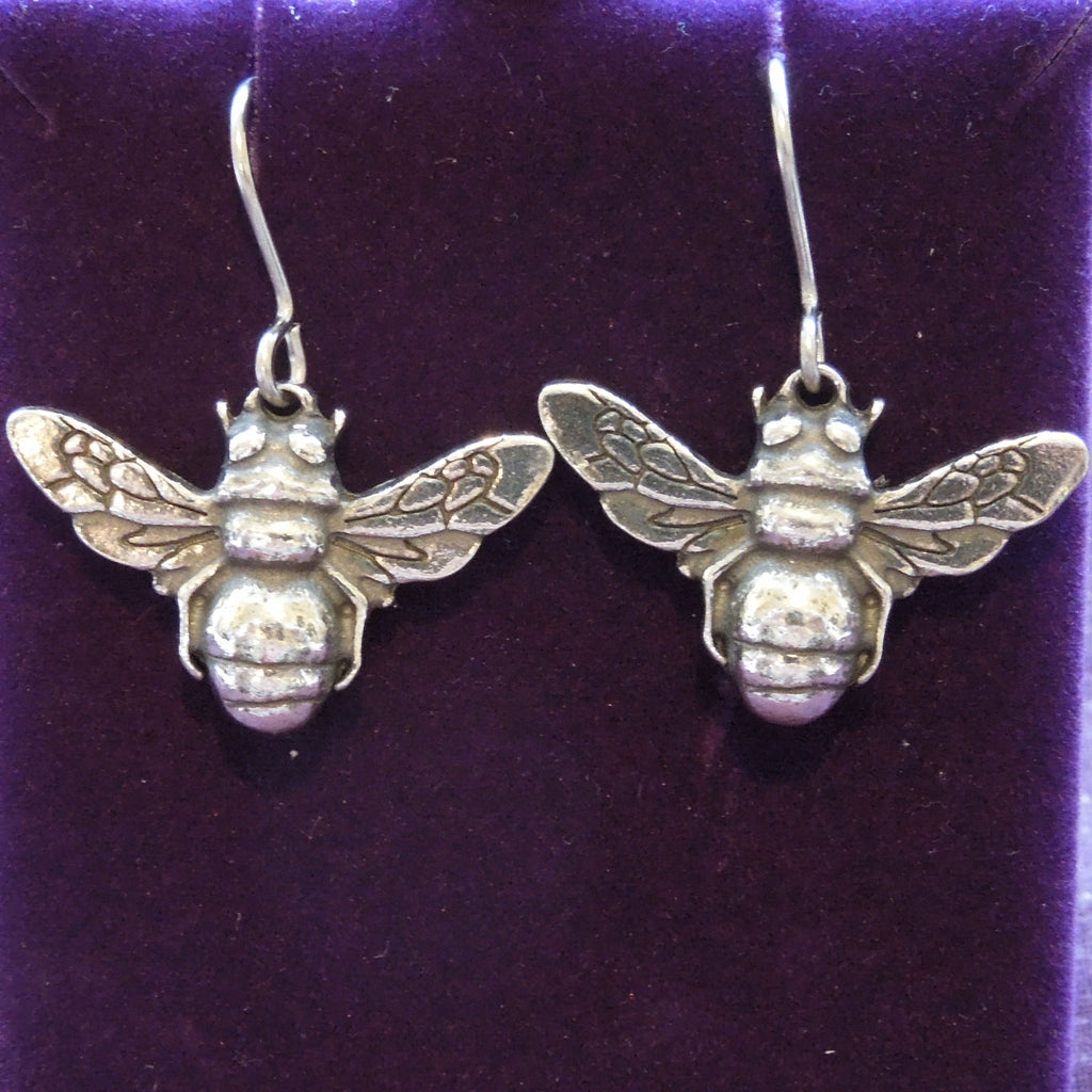 Pewter Bee Earrings (PE885)