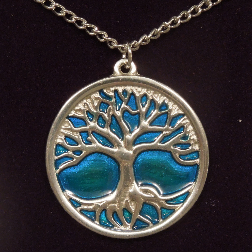 Pewter Tree of Life Necklace (Blue) (PN842)