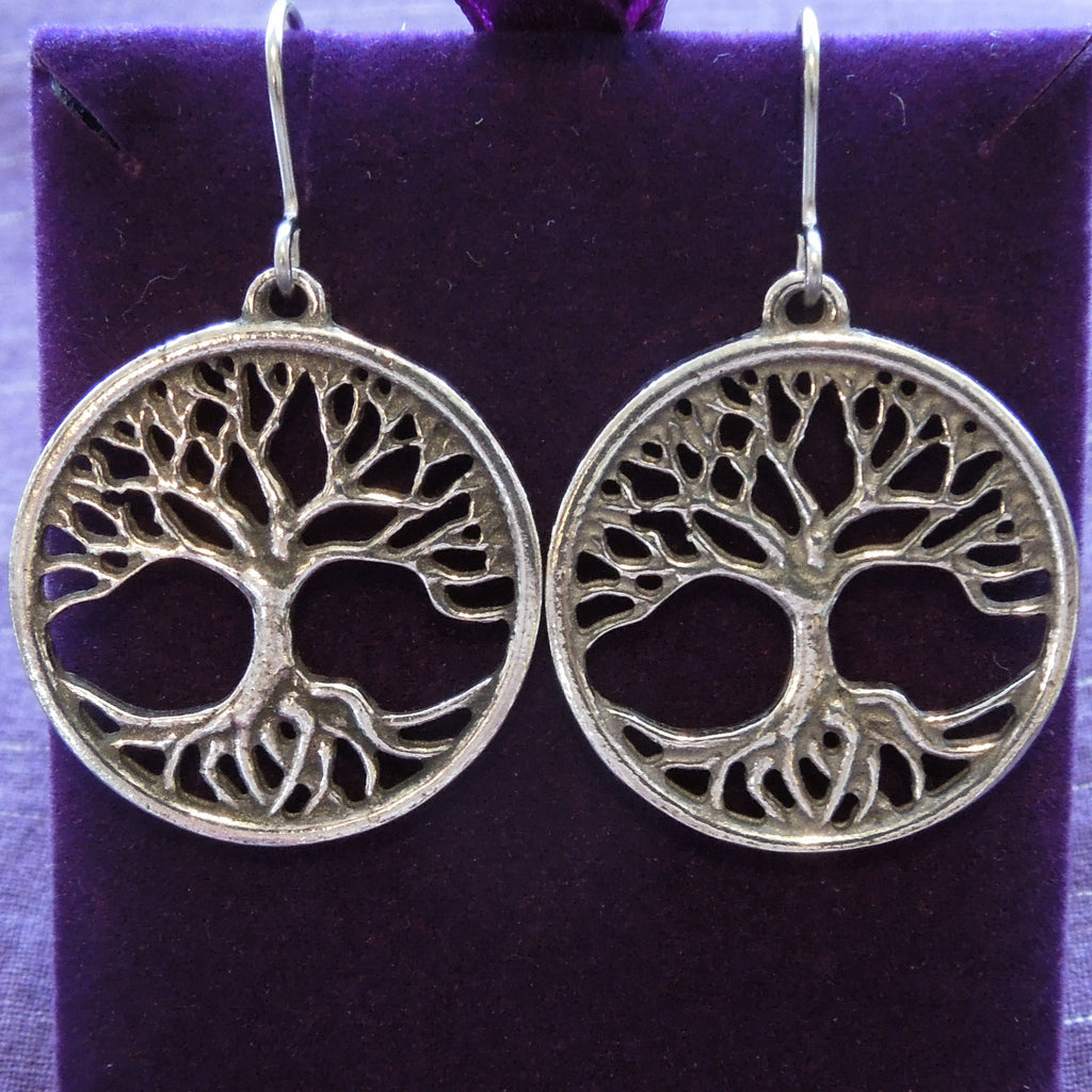 Pewter Tree of Life Earrings