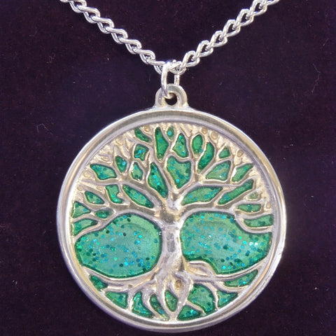 Pewter Tree of Life Necklace (Green) (PN843)